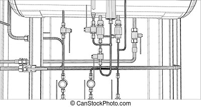 Illustration of equipment for heating system with pipes on...