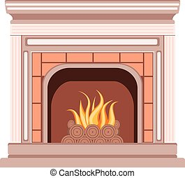 Simple Fireplace Design - Element of the interior living...