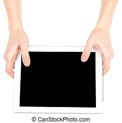 Female hands using tablet