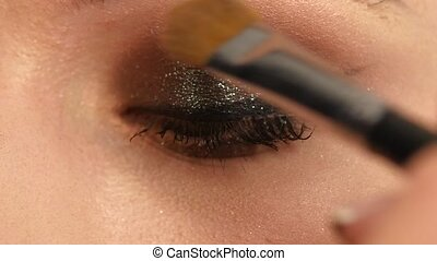 Girl with Makeup Brush close up Slow motion - Beauty Girl...