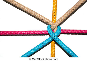 color rope knot on white - close up knot of color rubber...