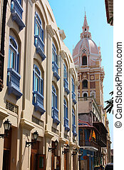 Old Town Street and Cathedral. Spanish colonial stule....