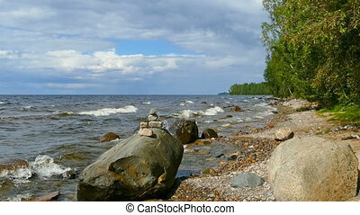 Shore of Onega lake in Karelia, Russia, zoom in