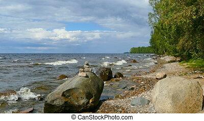 Shore of Onega lake in Karelia, Russia, zoom in