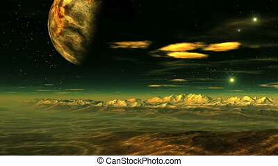 Flying over an alien planet - The starry night sky is a huge...