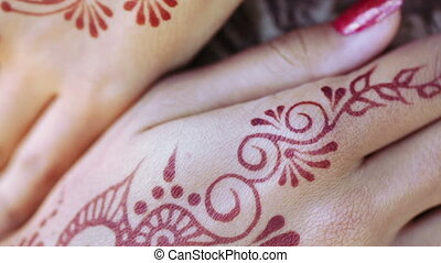 Hand with Mechendi - Girl with hands painted Mehandi Picture...
