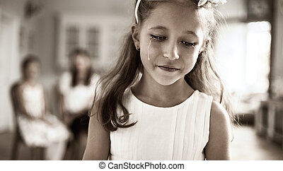 Portrait of a sad child - Portrait of a little sad child
