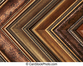 Picture frame samples gold and bronze - row of bronze and...