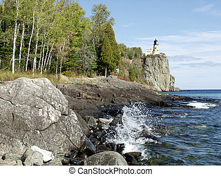 Splitrock Lighthouse near Shoreline - Northern Minnesota