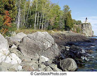 Rocky Shoreline near Lighthouse - Northern Minnesota