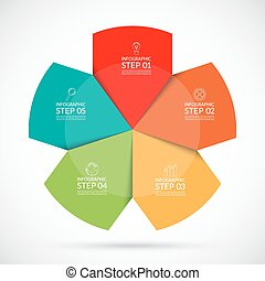 Infographic circular template 5 steps vector background -...