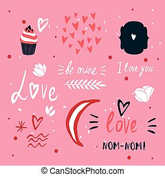 St Valentines Day lettering and cute design elements...