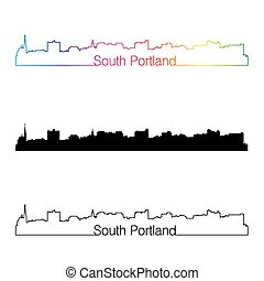 South Portland skyline linear style with rainbow in editable...