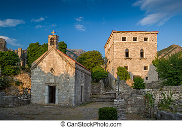 Old Bar fortress buildings at sunset, Montenegro - Bar town...