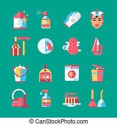 Housekeeping Cleaning Flat Icons Set - Housekeeper cleaning...