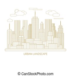 Thin line city landscape concept illustration View of the...