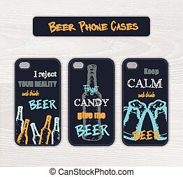 vector set of vintage hand drawn phone case made in beer theme with funny label on wooden desk