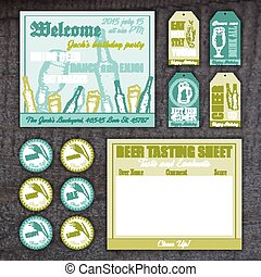 vector vintage hand drawn set with invitation card, tasting sheet, label and tag on wooden desk