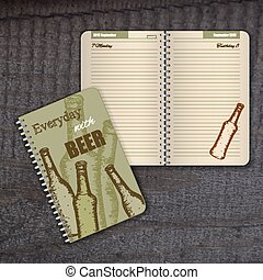 vector spiral diary with cover with hand drawn vintage beer bottle and funny label. Page is beige with illustration of beer bottle.