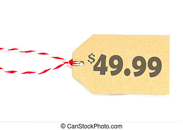 blank price tag label with string isolated on white...