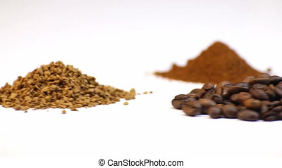 Beans, ground, soluble coffee, rotation video