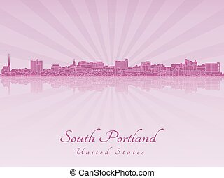 South Portland skyline in purple radiant orchid in editable...