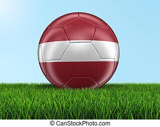 Soccer football with Latvian flag.