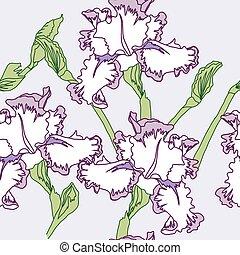 Seamless pattern  with irises