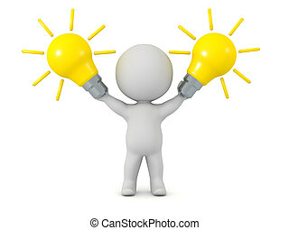 3D Character Holding Idea Light Bulbs - 3D character holding...