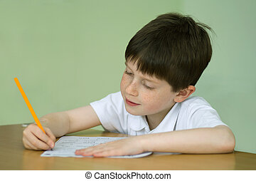 Boy doing school work - Young boy at a table doing school...