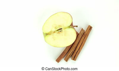 Apple with stick cinnamon - isolated video