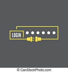 Web form to access the site Password and lock with wire plug...