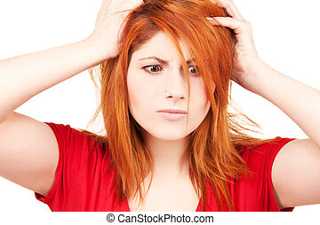 unhappy redhead woman - picture of unhappy redhead woman...