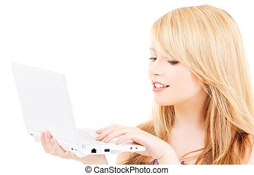 teenage girl with laptop computer - picture of teenage girl...