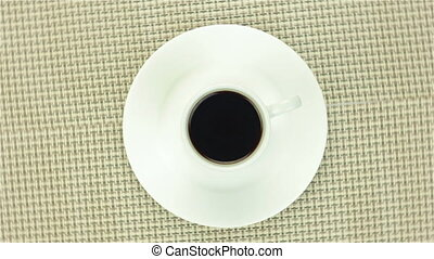 Cup of instant coffee on colour napkin - Cup of instant...