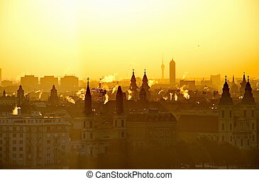 Rising sun over the city of Budapest