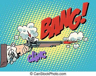 Duel shot pistol pop art retro style Antique weapons The...