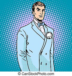 The groom in a wedding suit pop art retro style. The flower...
