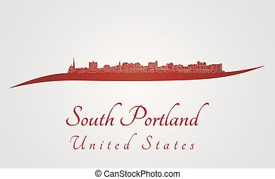 South Portland skyline in red and gray background in...