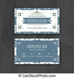Floral horizontal business card template. Design for personal or professional use with front and back side.