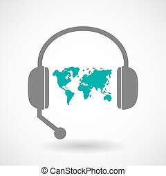 Remote assistance headset icon with  a world map
