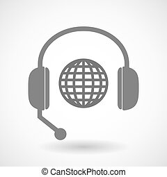 Remote assistance headset icon with  a world globe