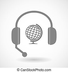 Remote assistance headset icon with   a table world globe