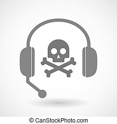 Remote assistance headset icon with  a skull