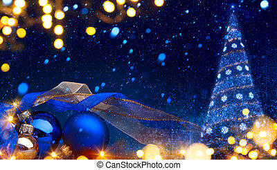 art Christmas background with a christmas ornament on blue...