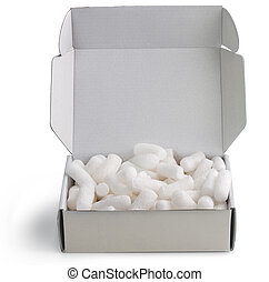 cardboard box filled with polystyrene foam chips