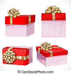 Holiday gifts in red boxes with gold bow isolated on a white background