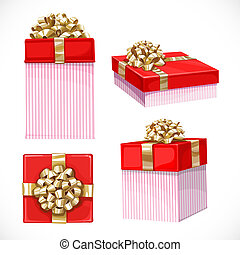 Set of holiday gifts in red boxes with gold bow isolated on a white background