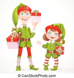 Cute little elfes Santa's assistant witha gifts isolated on...
