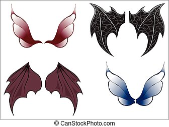 Fairy wings - Set of wings of magic beings - the fairy, a...